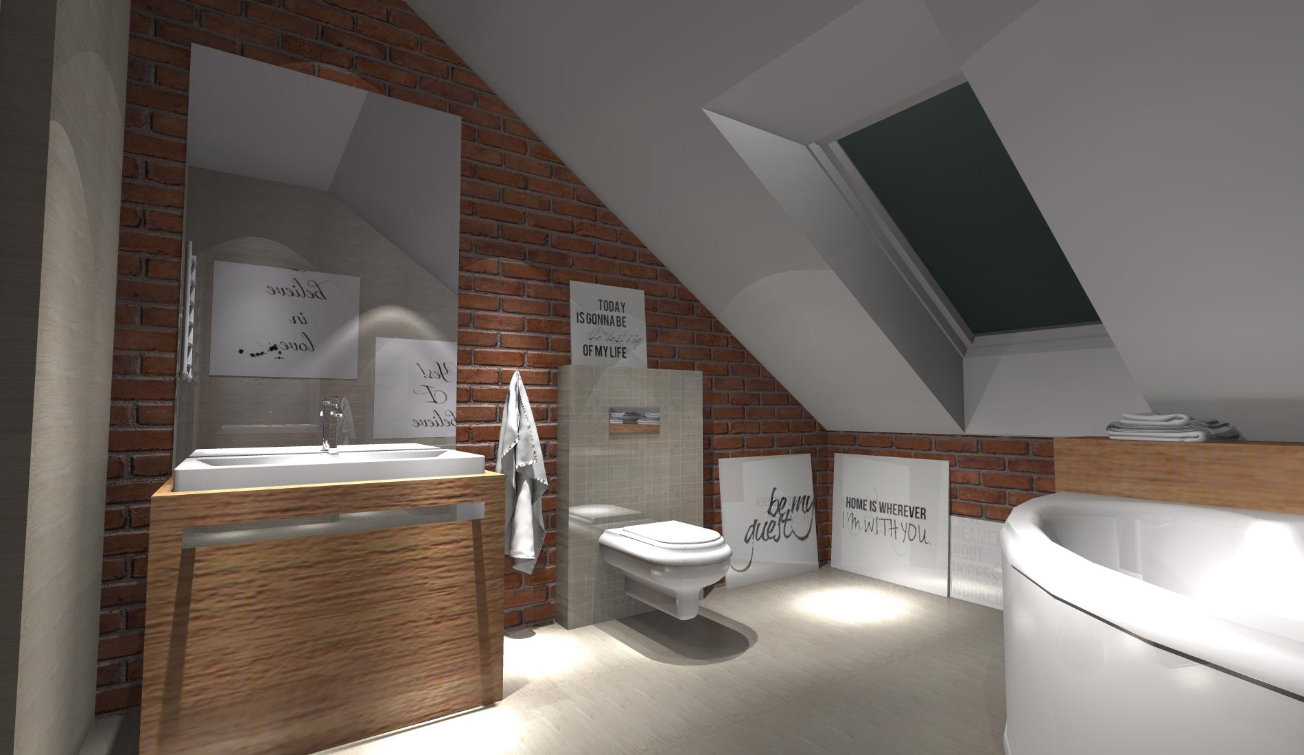 Projekt łazienki Z Cegłą Portfolio Ancu Design