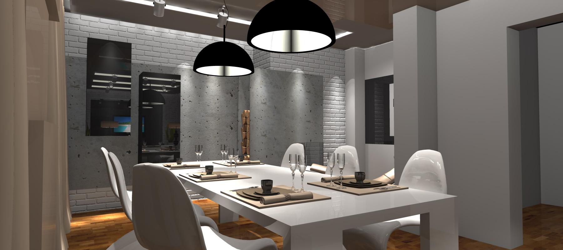 Projekt salonu z jadalni portfolio ancu design for Biala cegla w salonie