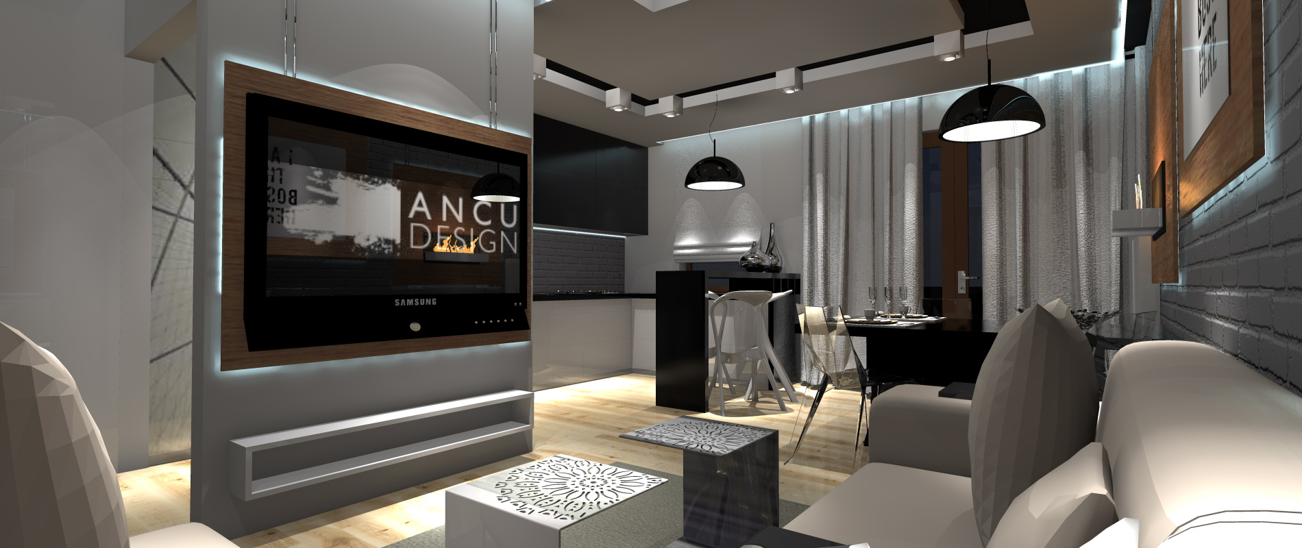 Projekt Salonu Z Aneksem Kuchennym Portfolio Ancu Design