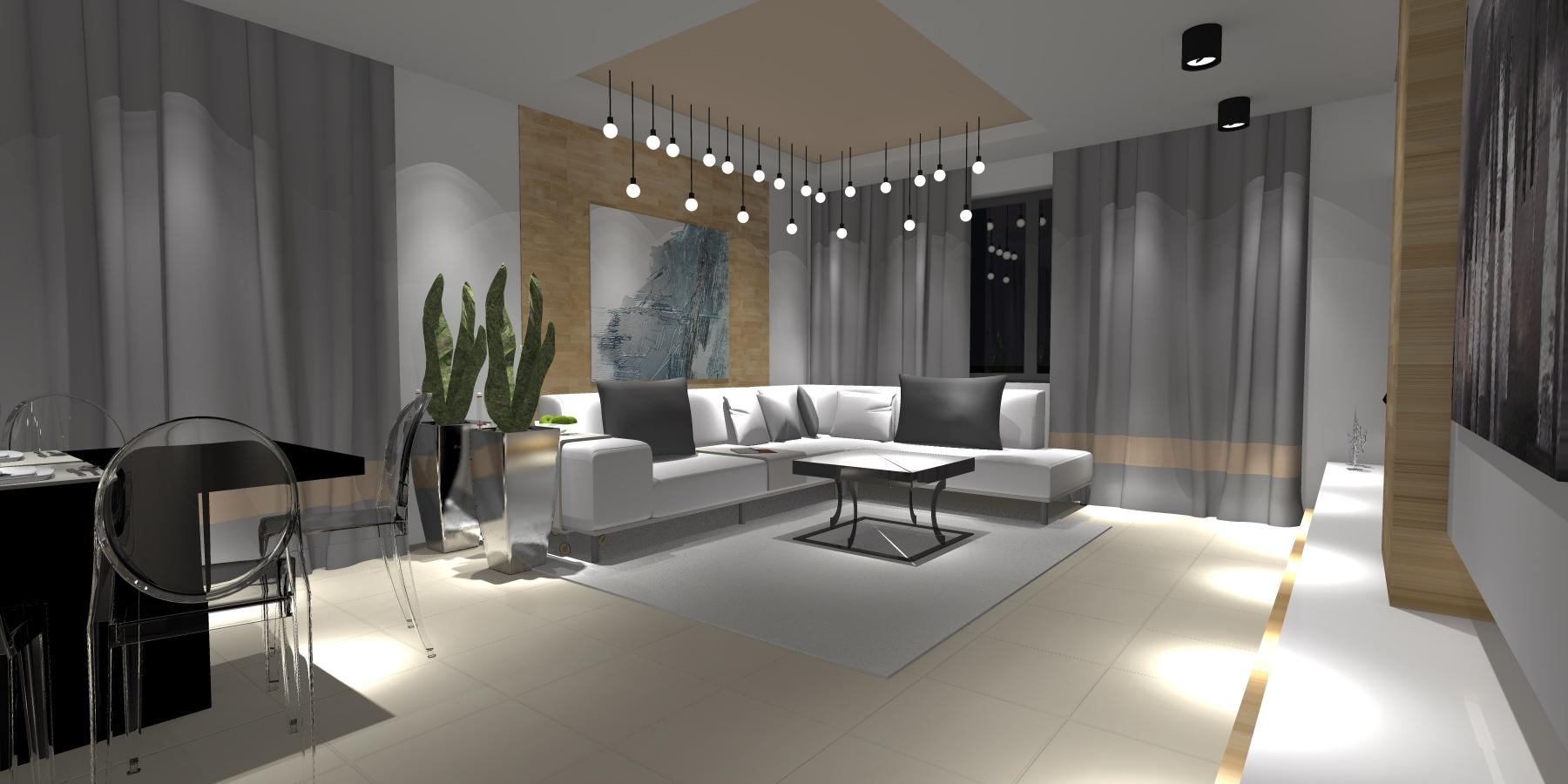 Projekt Wnętrza Salon Kuchnia Jadalnia Portfolio Ancu Design