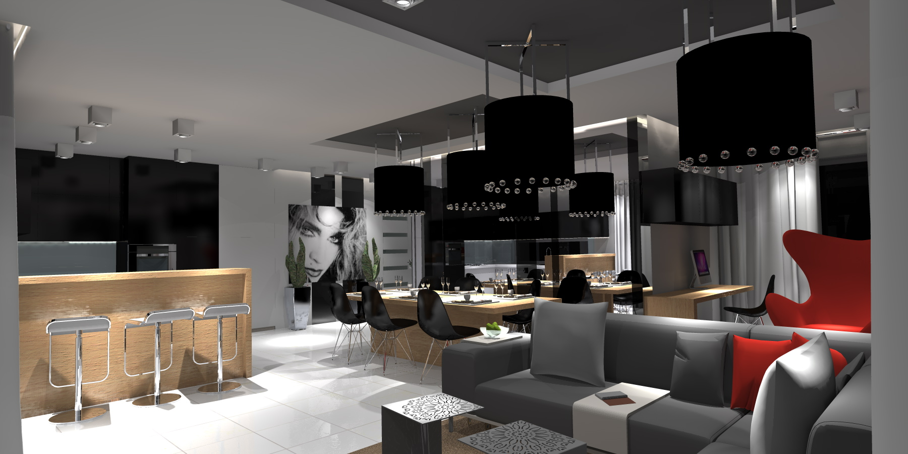 Projekt salonu z aneksem kuchennym  Portfolio  Ancu Design -> Salon Kuchni Rumia