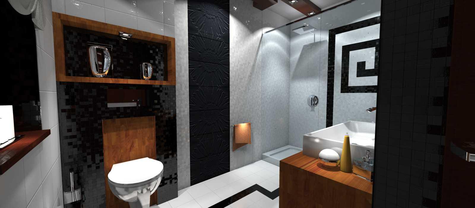 Łazienka biało czarna z dodatkiem drewna - Portfolio - Ancu Design