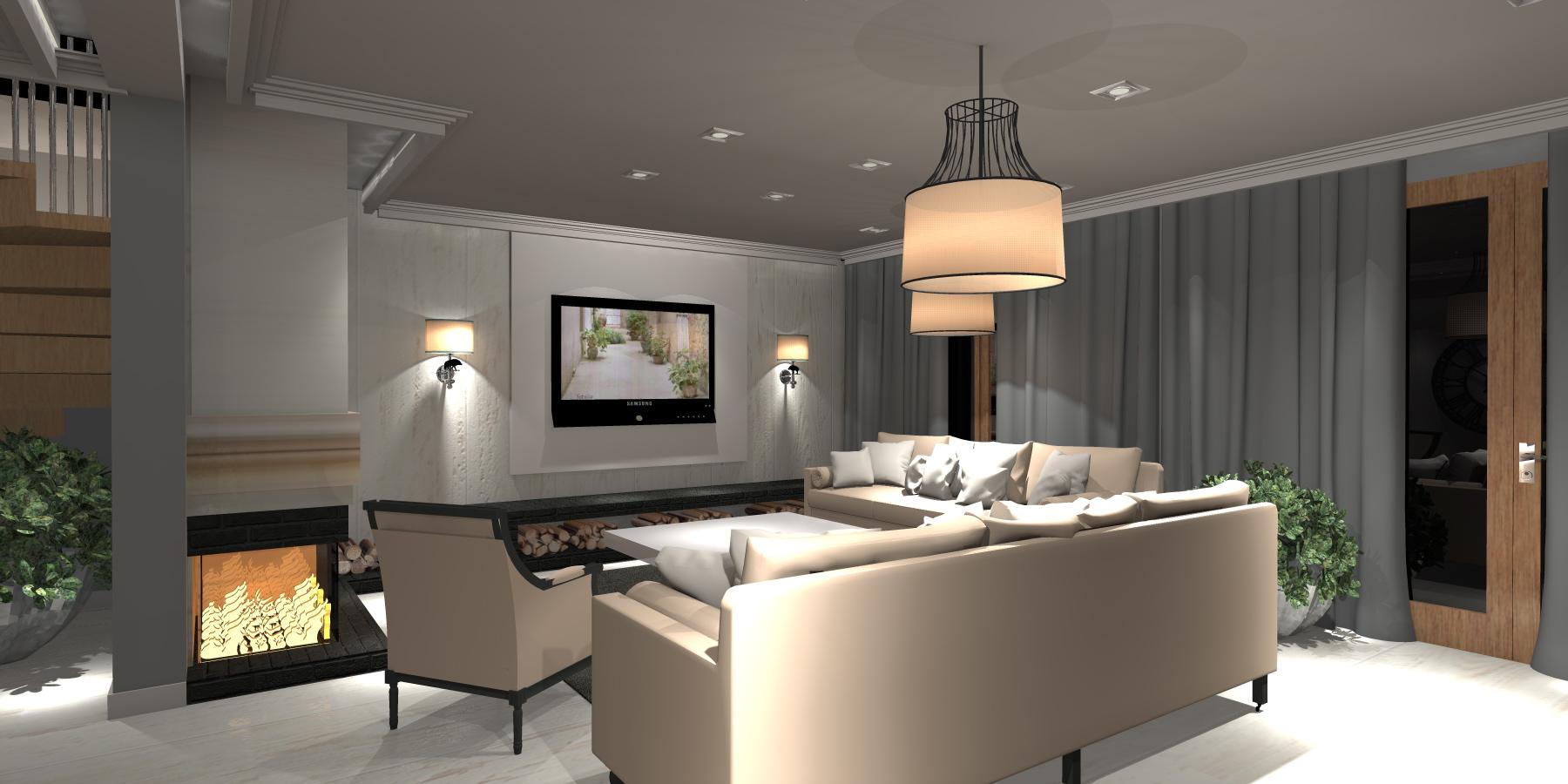 Projekt Salonu z jadalnią konc 3 klasyczna - Portfolio - Ancu Design